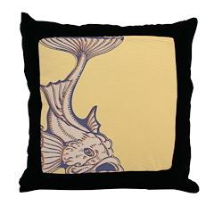 Purple Art Nouveau Fish Throw Pillow