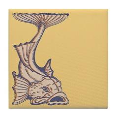 Purple Art Nouveau Fish Tile Drink Coaster