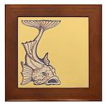 Purple Art Nouveau Fish Framed Tile
