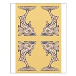 Purple Art Nouveau Fish Small Poster