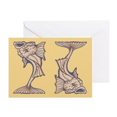 Purple Art Nouveau Fish Greeting Cards (Pk of 20)