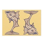 Purple Art Nouveau Fish Postcards (Package of 8)
