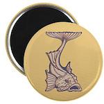 """Purple Art Nouveau Fish 2.25"""" Magnet (10 pack)"""