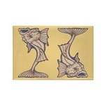 Purple Art Nouveau Fish Rectangle Magnet (100 pack