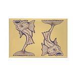 Purple Art Nouveau Fish Rectangle Magnet (10 pack)
