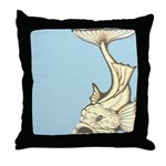 Yellow Art Nouveau Fish Throw Pillow