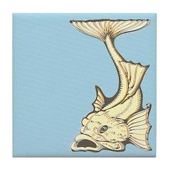 Yellow Art Nouveau Fish Tile Drink Coaster