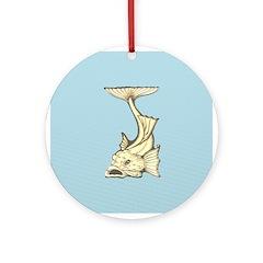 Yellow Art Nouveau Fish Ornament (Round)