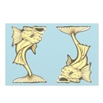 Yellow Art Nouveau Fish Postcards (Package of 8)