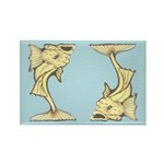 Yellow Art Nouveau Fish Rectangle Magnet (100 pack