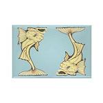 Yellow Art Nouveau Fish Rectangle Magnet (10 pack)