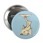 "Yellow Art Nouveau Fish 2.25"" Button"