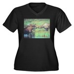 Alaska Scene 20 Women's Plus Size V-Neck Dark T-Sh