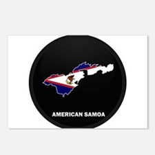 Flag Map of American Samoa Postcards (Package of 8