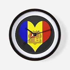 I love Andorra Flag Wall Clock