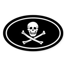 SKULL and CROSSBONES Oval Decal