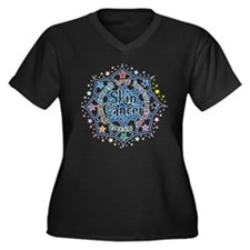 Skin Cancer Lotus Women's Plus Size V-Neck Dark T-