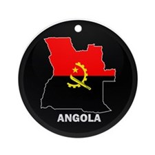 Flag Map of Angola Ornament (Round)