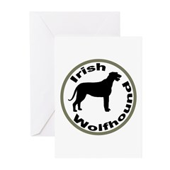 Irish Wolfhound Circle Border Greeting Cards (Pk o