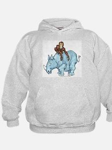 Chimp on Rhino Hoodie