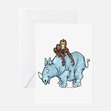 Chimp on Rhino Greeting Cards (Pk of 10)