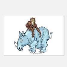Chimp on Rhino Postcards (Package of 8)