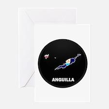 Flag Map of Anguilla Greeting Card