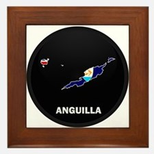 Flag Map of Anguilla Framed Tile