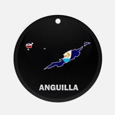 Flag Map of Anguilla Ornament (Round)