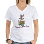 Hippity Hopping Along Easter Bunny Women's V-Neck