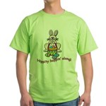 Hippity Hopping Along Easter Bunny Green T-Shirt