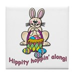 Hippity Hopping Along Easter Bunny Tile Coaster