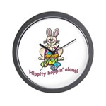 Hippity Hopping Along Easter Bunny Wall Clock