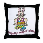 Hippity Hopping Along Easter Bunny Throw Pillow