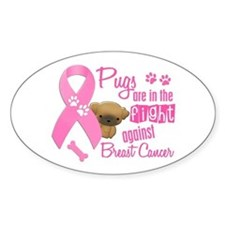 Pugs Against Breast Cancer 2 Oval Decal