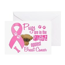 Pugs Against Breast Cancer 2 Greeting Card