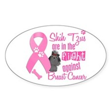 Shih Tzus Against Breast Cancer 2 Oval Decal