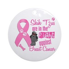 Shih Tzus Against Breast Cancer 2 Ornament (Round)
