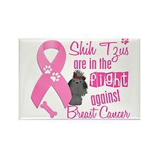 Shih Tzus Against Breast Cancer 2 Rectangle Magnet