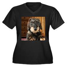 Wired Haired Women's Plus Size V-Neck Dark T-Shirt