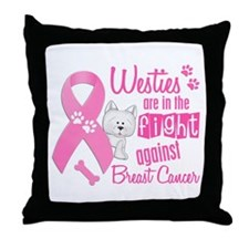 Westies Against Breast Cancer 2 Throw Pillow