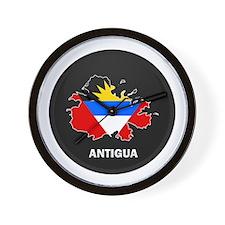 Flag Map of Antigua Wall Clock