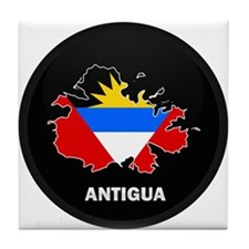 Flag Map of Antigua Tile Coaster