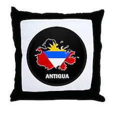 Flag Map of Antigua Throw Pillow