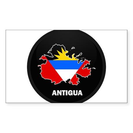 Flag Map of Antigua Rectangle Sticker