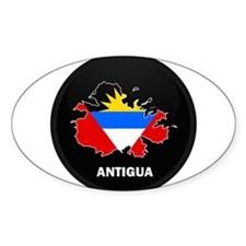 Flag Map of Antigua Oval Decal