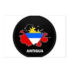 Flag Map of Antigua Postcards (Package of 8)