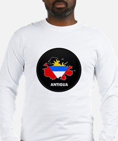 Flag Map of Antigua Long Sleeve T-Shirt