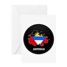 Flag Map of Antigua Greeting Card