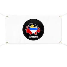 Flag Map of Antigua Banner